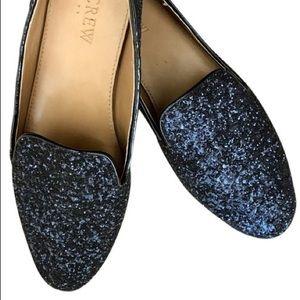 J Crew Blue Addie Glitter Loafers